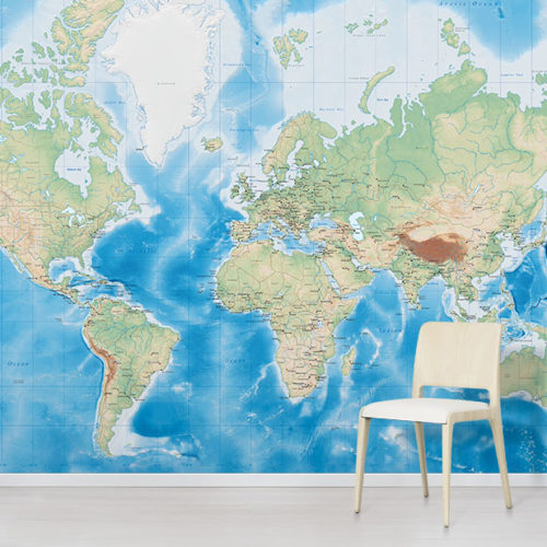 Oceanic World Map Wallpaper Mural in situ