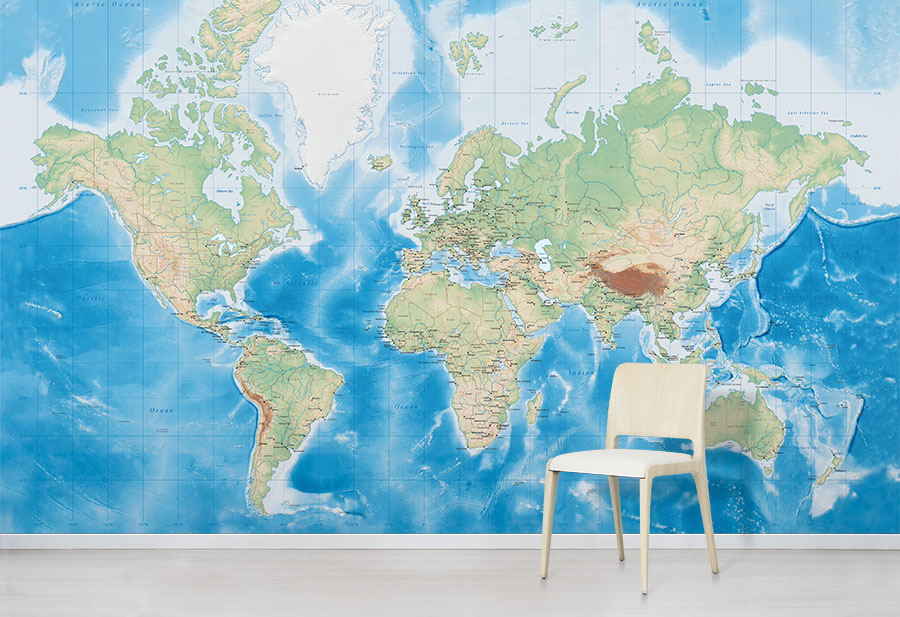 Ocean World Map World Map Wall Murals Wallpapered