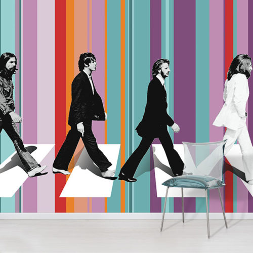 The Beatles Abbey Road Wallpaper Mural in situ with chair