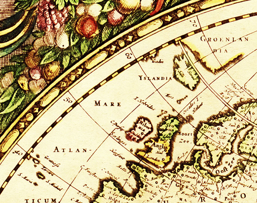Vintage Globe Design Wallpaper Wall Map Mural close-up view