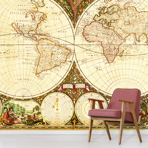 Vintage Map Wallpaper • Antique Maps Wall Murals • Wallpapered