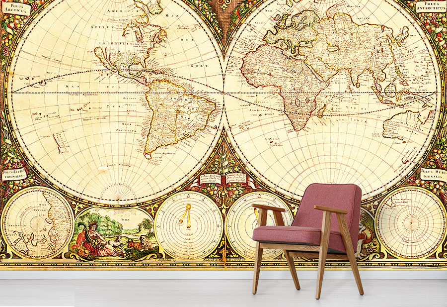 Old World Map Mural.Antique World Map Wallpaper Vintage World Map Murals Wallpapered