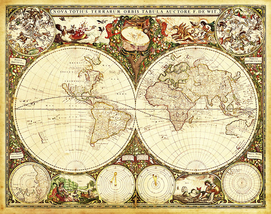 Magnificent Antique World Map Wallpaper Mural