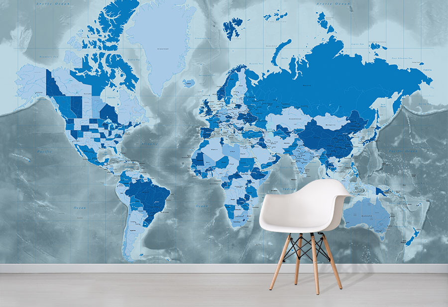 Cool Blue World Map Wallpaper World Map Wall Murals Wallpapered