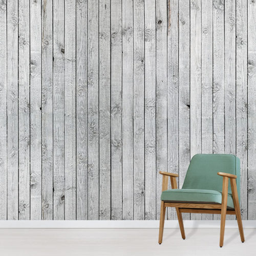 Wood Wallpaper Mural in situ with green comfy chair