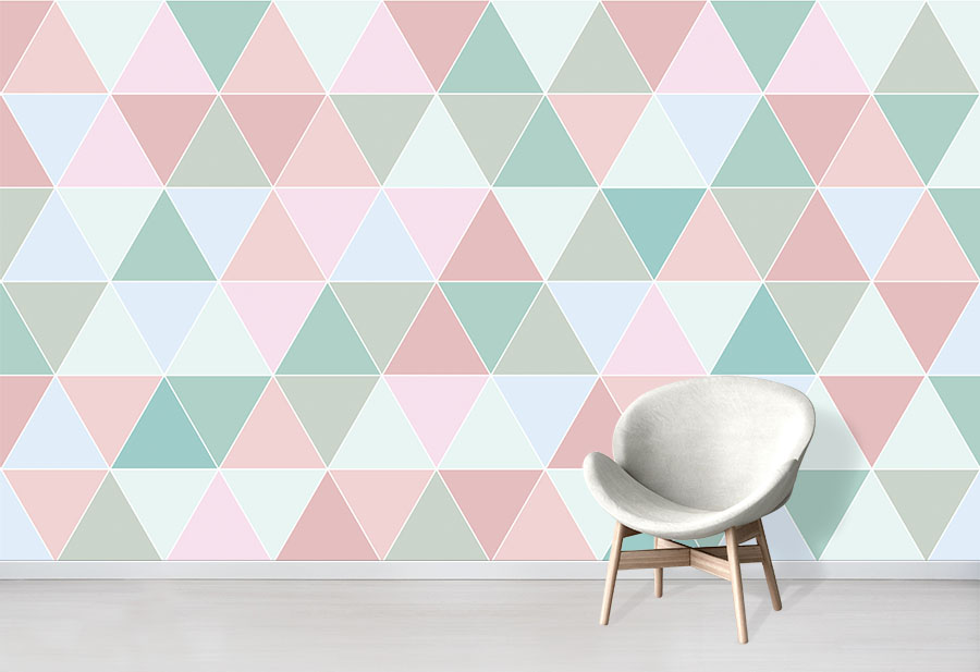 Pastel colours triangles wallpaper wall mural in situ with comfy chair