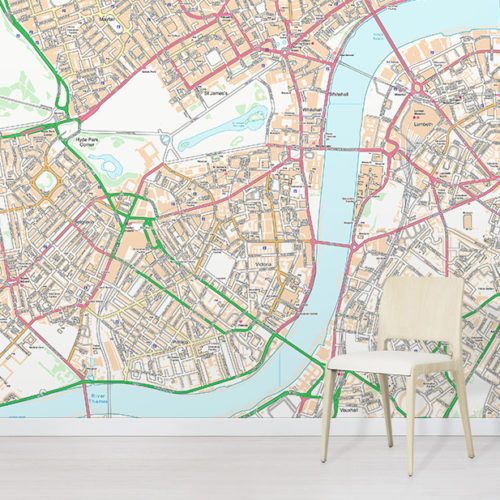 Customised OS Street Map Wallpaper Wall mural in situ with chair