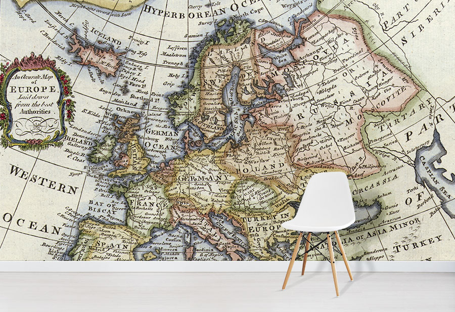 Vintage Europe Map Wallpaper Mural