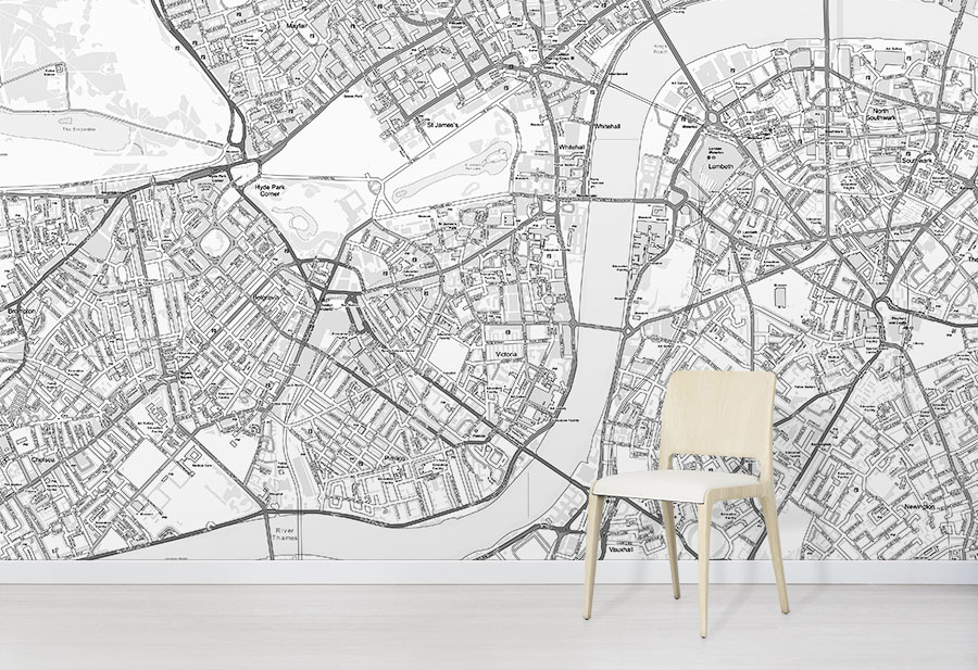 Custom Street Map Wallpaper Os Black White Maps Wallpapered