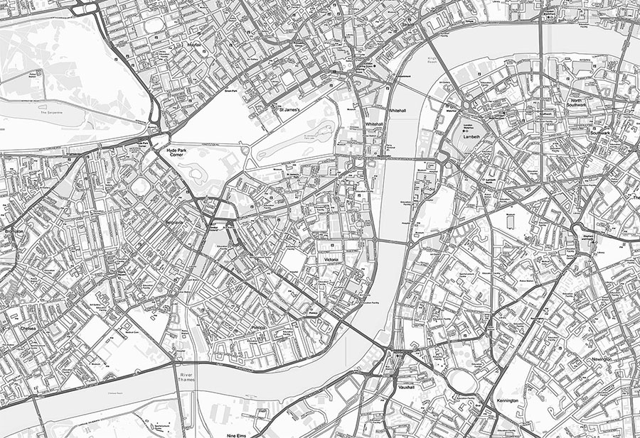 Customised Ordnance Survey Street Map Wallpaper in Black & White