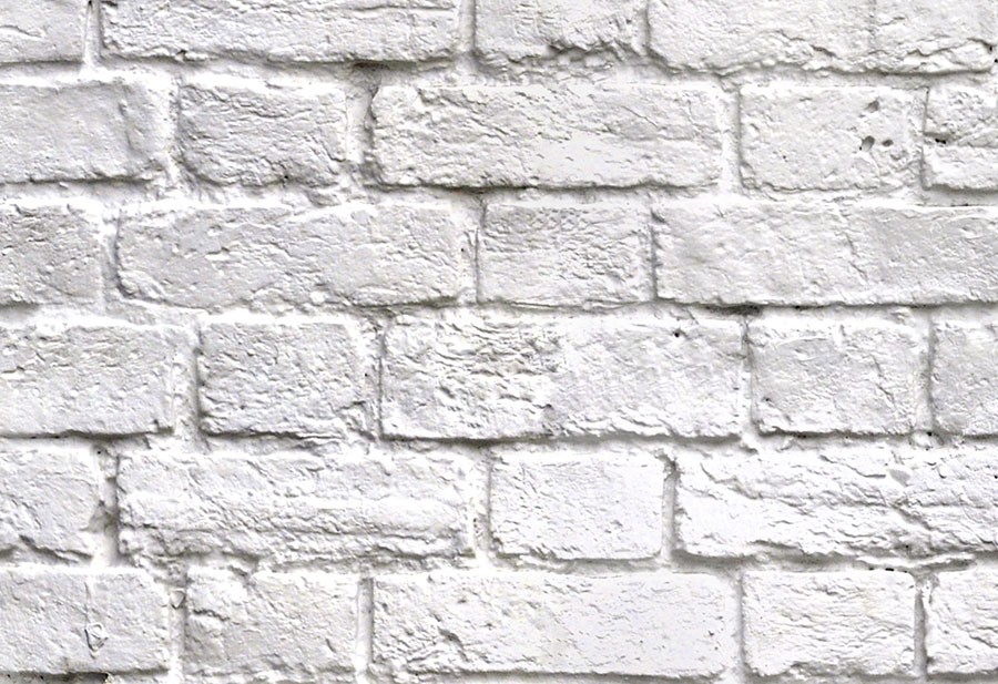 White brick effect wallpaper wall mural design close up detail view