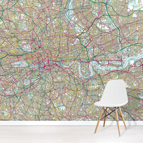 OS Landranger Wallpaper Map Wallpaper Mural in situ with white chair