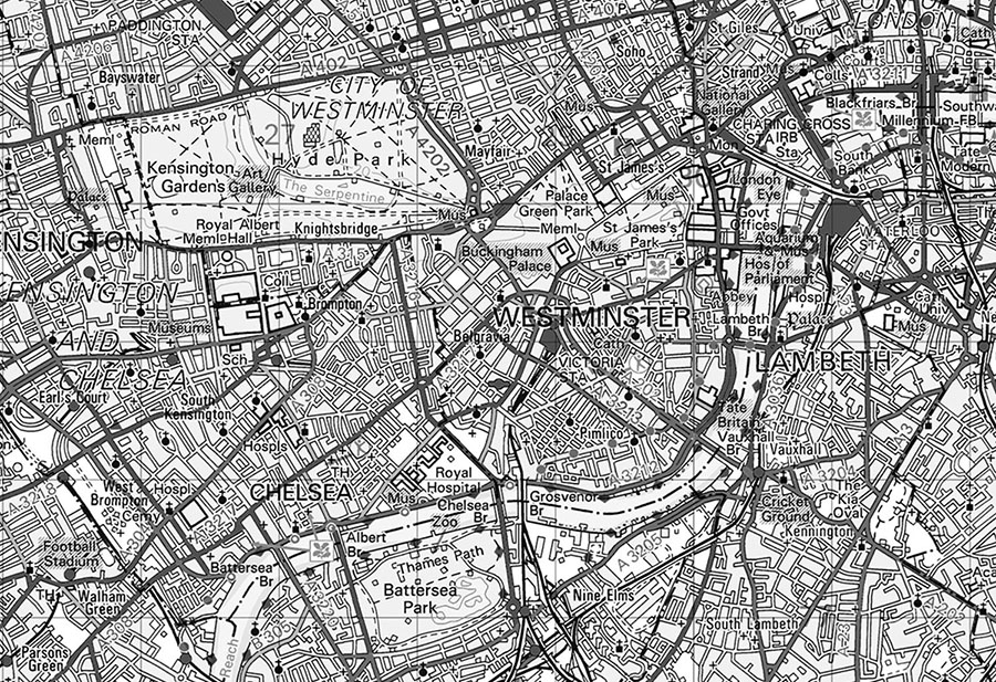 Custom OS Landranger Map Black & White Wallpaper Mural detail view close up