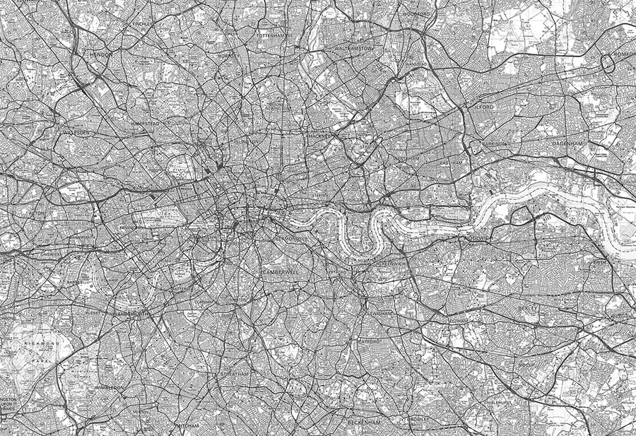 Ordnance Survey Landranger Map Black & White Wallpaper Mural