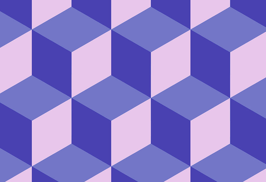 Blue purple geometric cube wallpaper mural