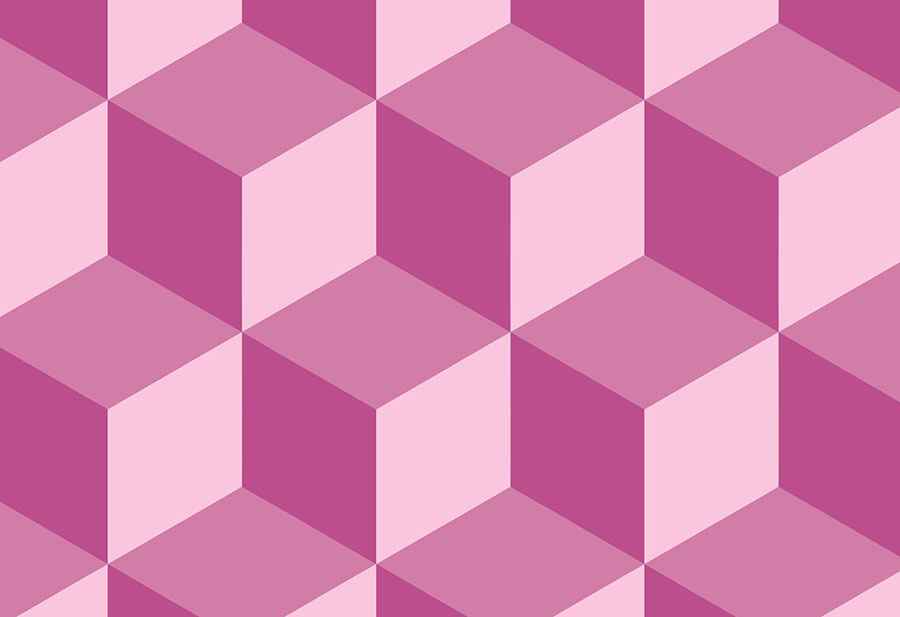 Pink and red toned Geometric Cube Wallpaper Mural