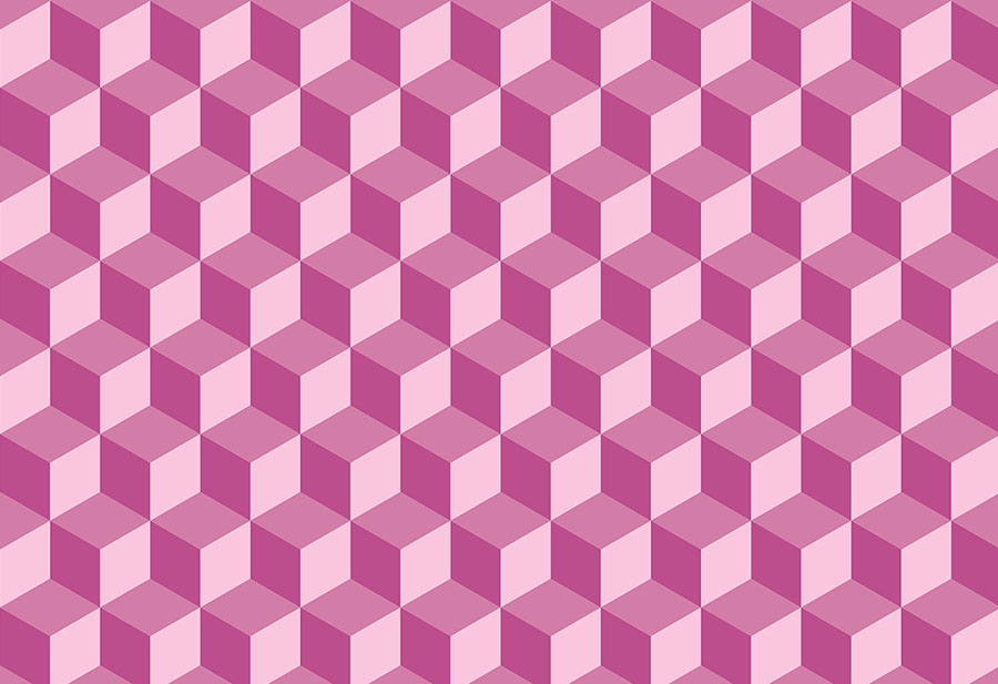 Geo Cube Geometric Design Raspberry Wallpaper Mural
