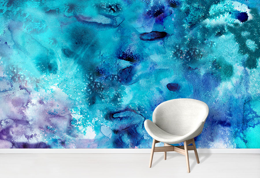 Blue And Purple Abstract Watercolour Wallpaper Wall Mural Design In Situ With Chair