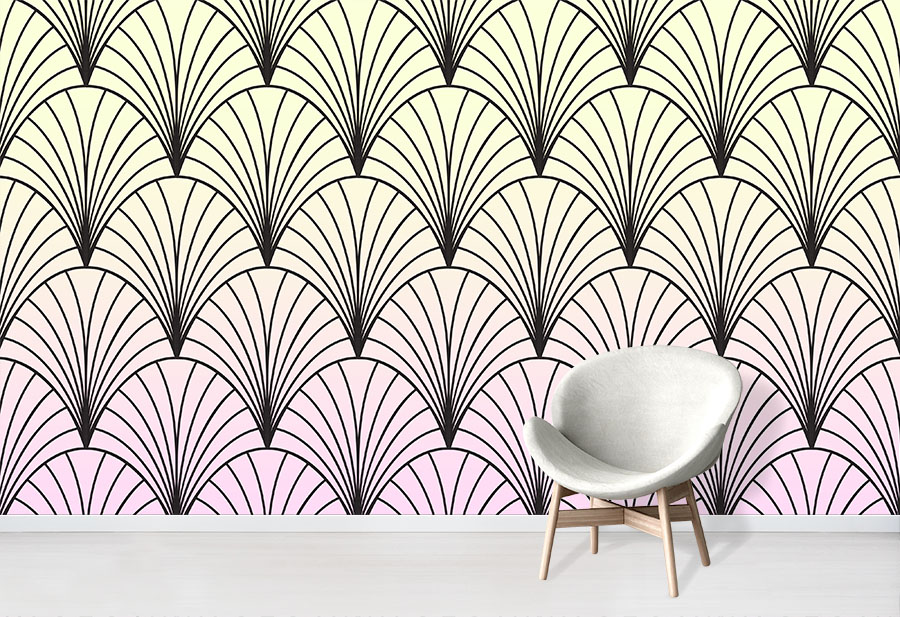 Sherbet Deco Wallpaper Wallpapered