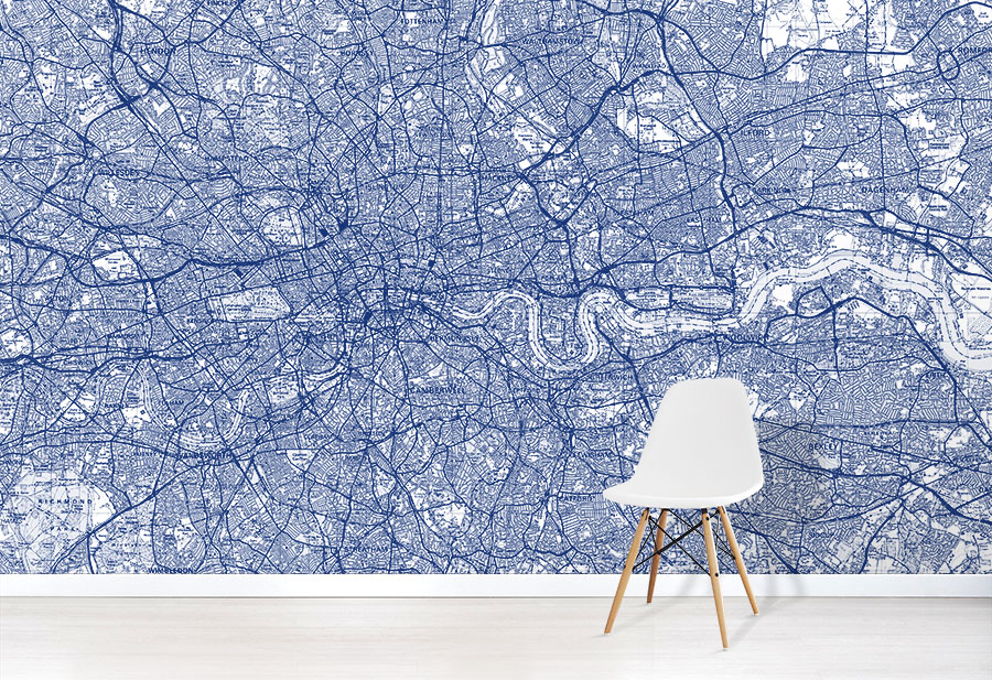 Custom Made Blue OS Landranger Map Wallpaper in situ with chair