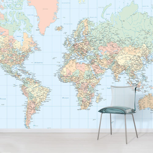 Full Wall World Map.World Map Wallpaper Wallpapered