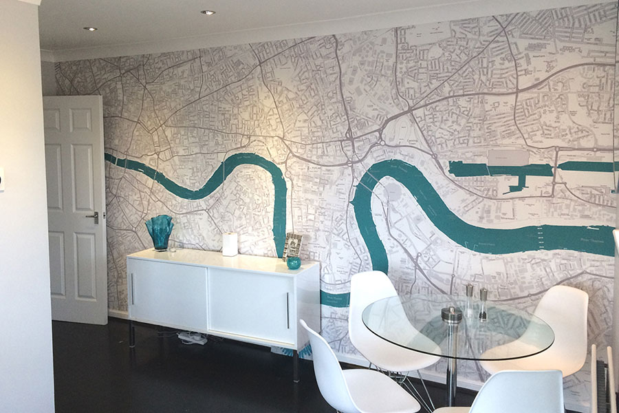 Custom Made Map Mural of London in sitting room with table and chairs