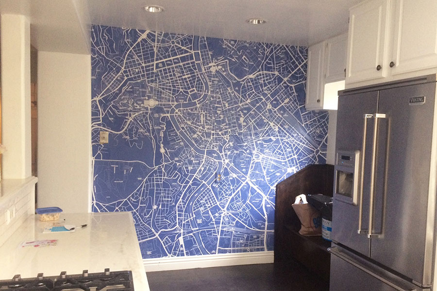 Blue Custom map wallpaper in the kitchen with fridge