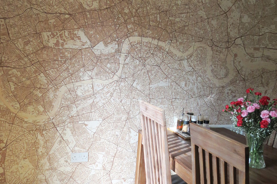 Sepia Style custom map wallpaper in the dining room with dining table and chairs
