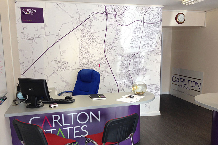 Custom Map wallpaper for estate agent office with desk and chairs