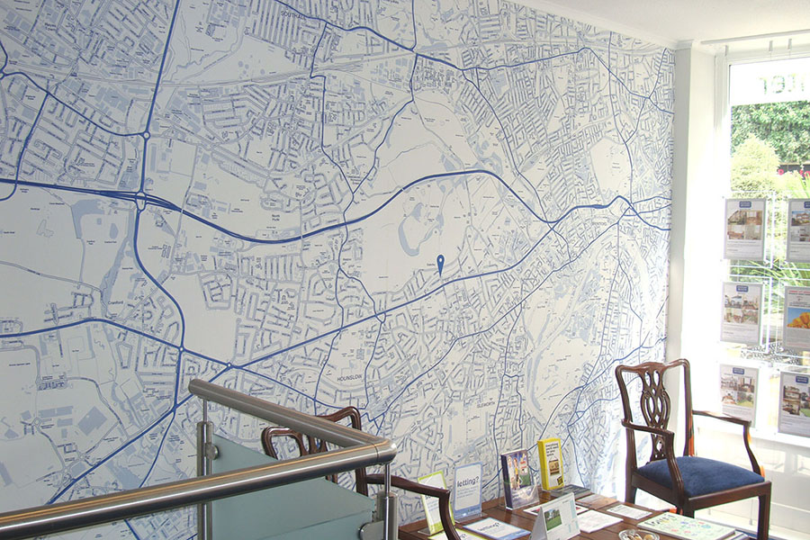 Custom Map Wallpaper for Estate Agent Office with chair