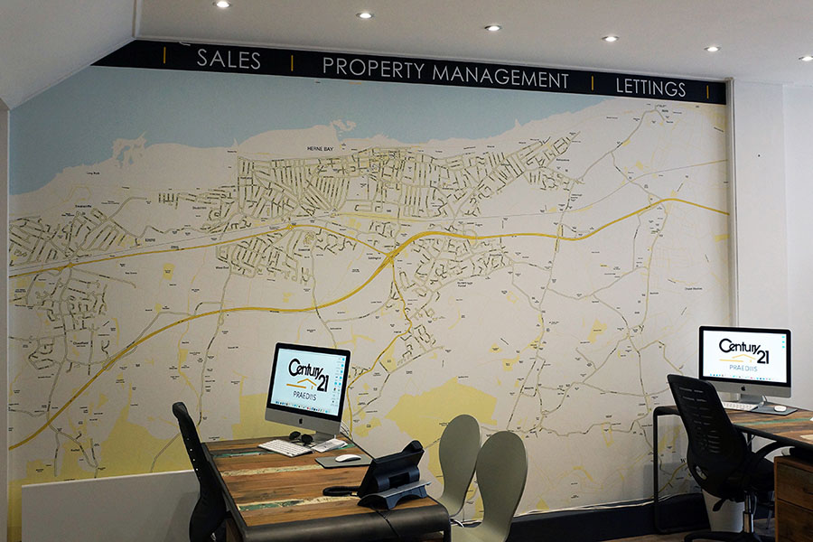 Century 21 Map wallpaper in estate agent office