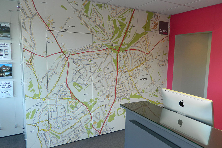 Bespoke local map wallpaper mural in reception area