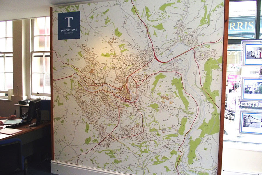 Colourful OS Custom Map wallpaper in estate agent offices