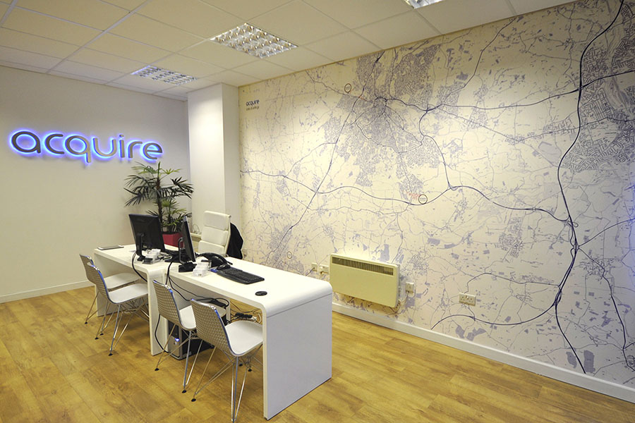 Bespoke Map Wallpaper in Estate Agents office with desk