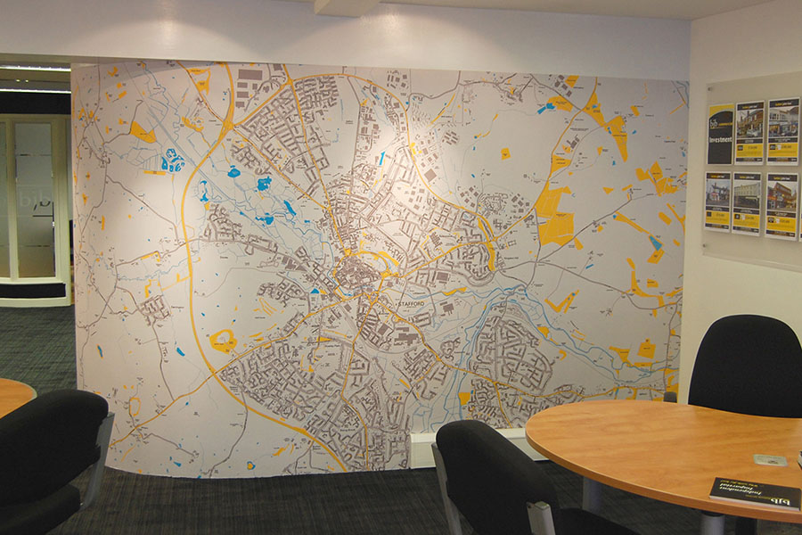Custom map wallpaper murals for Estate agents office with desk and chair