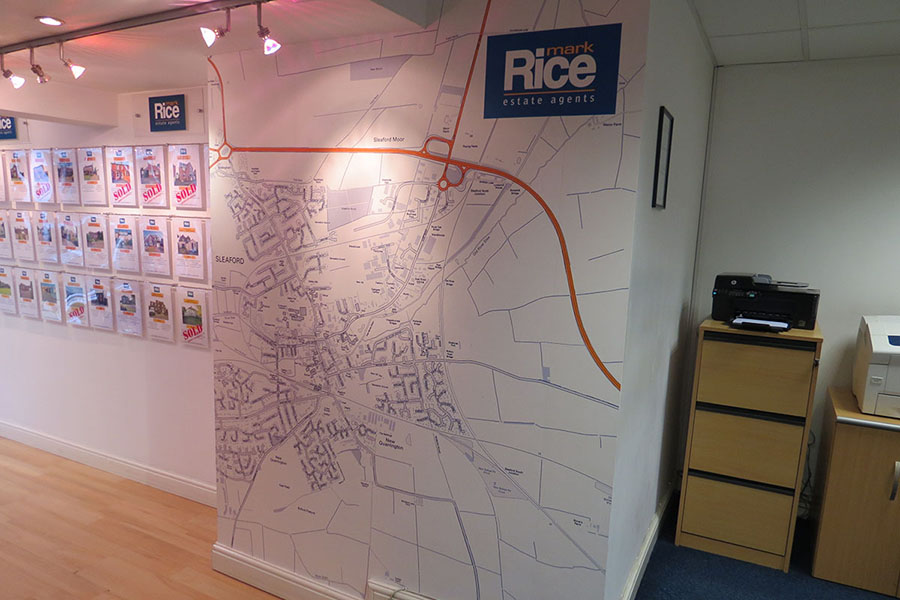 Customised Area Map Wallpaper in estate agent offices