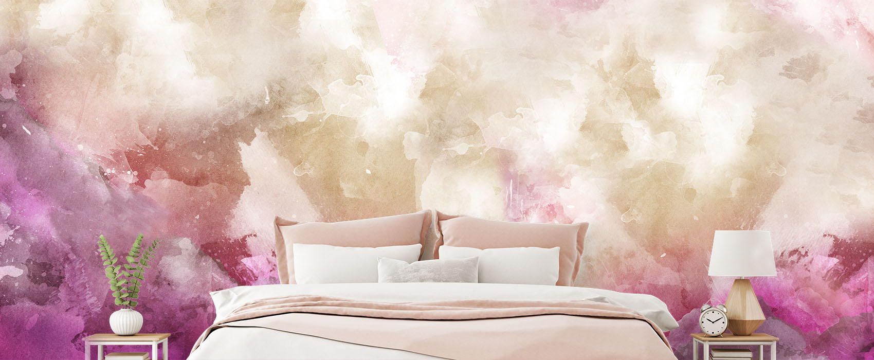 Watercolour Effect Quartz Abstract Wallpaper Wall Mural in bedroom with bed and pillows