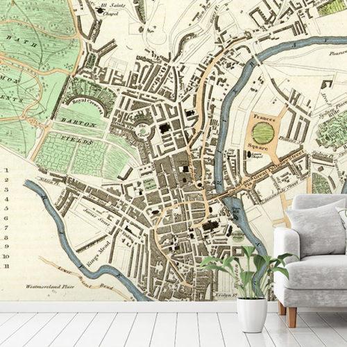 Antique Map of Bath Wallpaper Mural