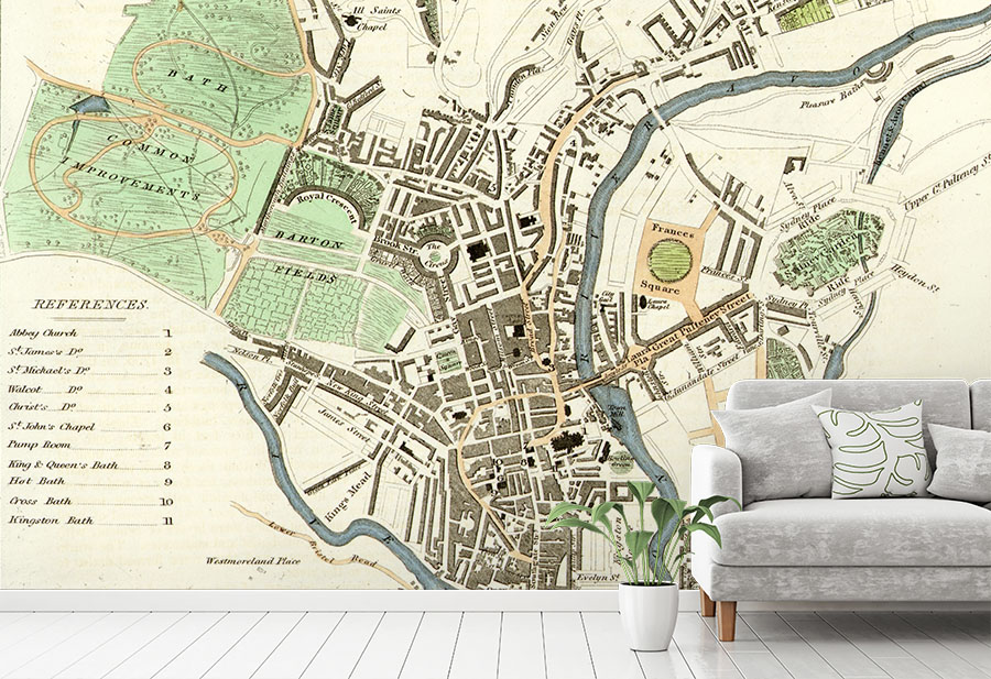 Antique Map of Bath Wallpaper Mural