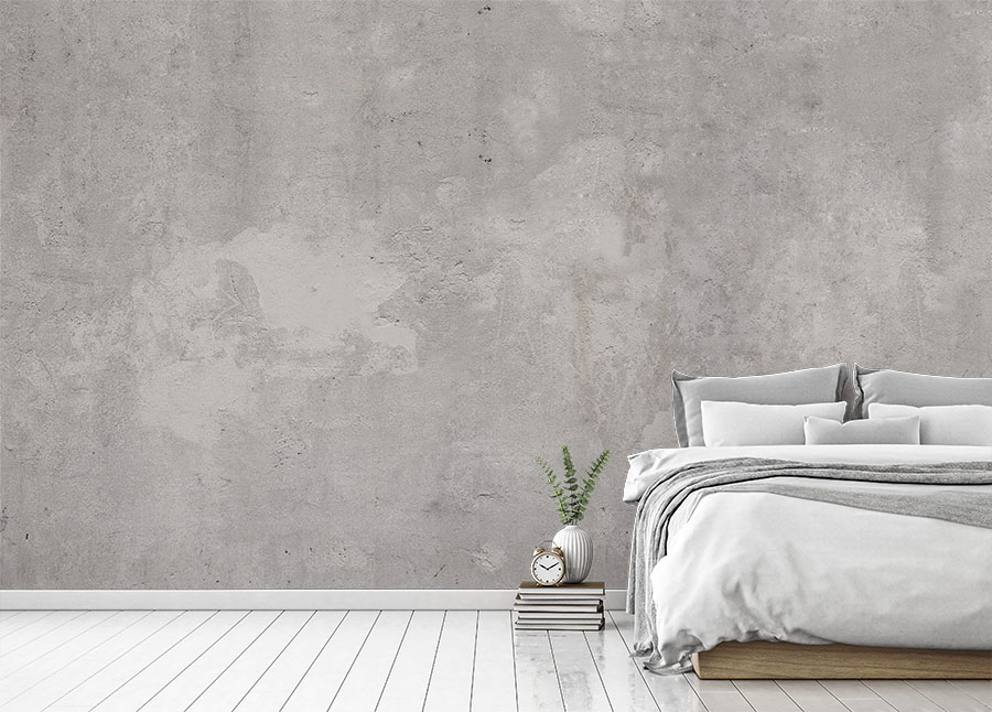 Light Concrete Wallpaper in the bedroom