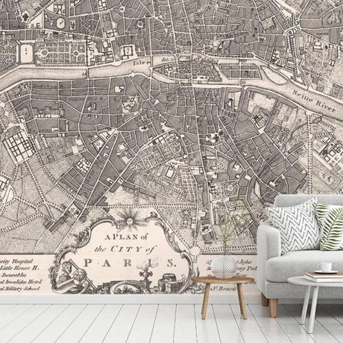 Vintage Paris Map Wallpaper
