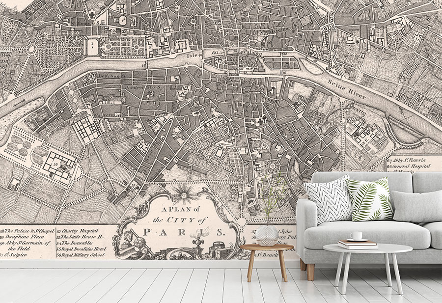 Vintage Paris Map Wallpaper • Antique Map Wall Murals • Wallpapered