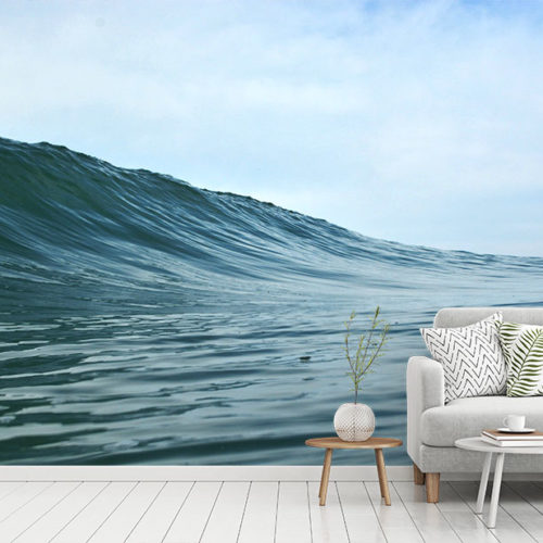 Blue Wave Wall Mural in living room