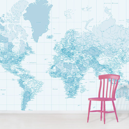 Pastel Blue World Map Wall Mural