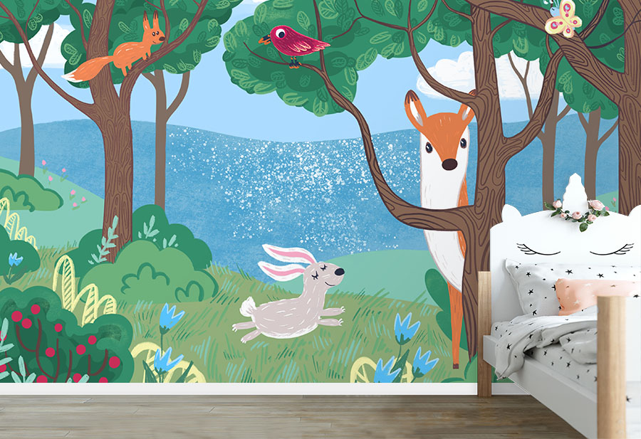 Happy Woodland Wall Mural