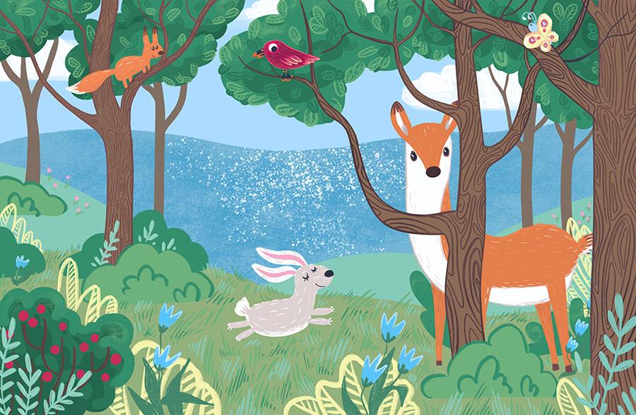 Happy Woodland Wallpaper Mural