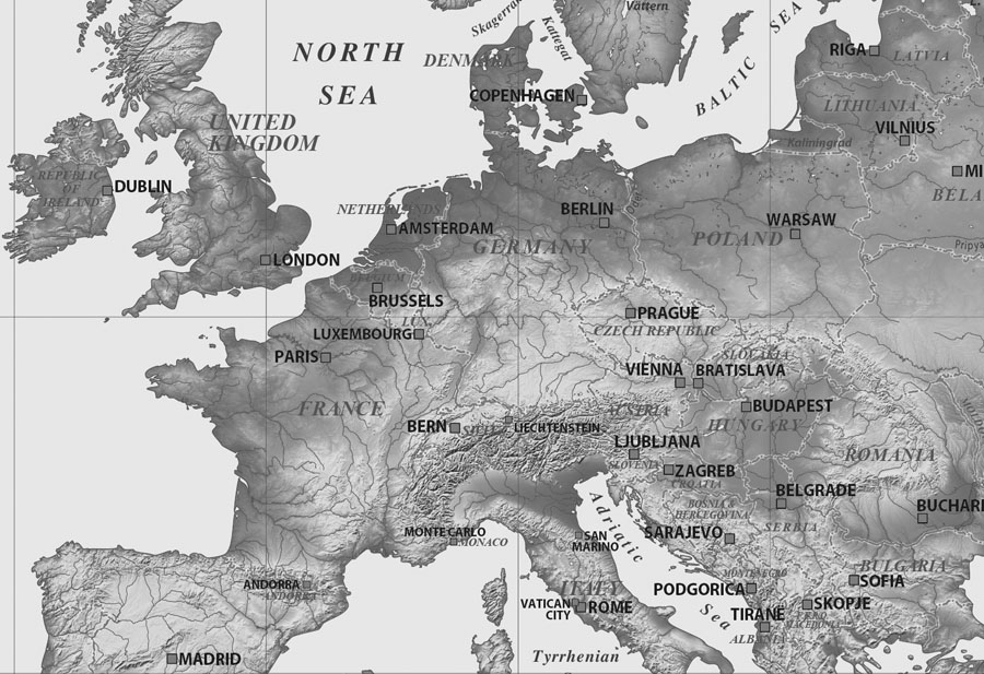 Black and White Atlas World Map Close up
