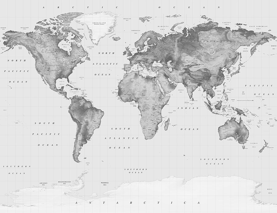 Black and White Atlas World Map