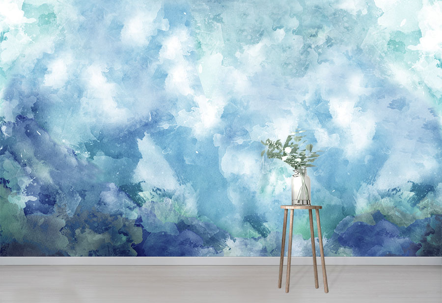 Blue Quartz Wall Mural in situ with table and vase