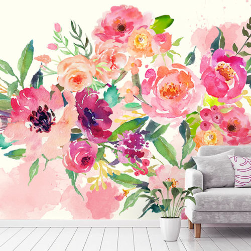Spring Bouquet Wall Mural in situ with sofa